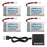 Crazepony 3.7V 680mAh Drone Lipo Battery for SNAPTAIN S5C SYMA X5 X5C X5C-1 X5SW X5SW-V3 UDI UFO 3000 FQ36 MJX X708 X708W Force1 U45 U45W T5W JJRC H42 SS40 GoolRC T32 RC Drone Battery with X4 Charger