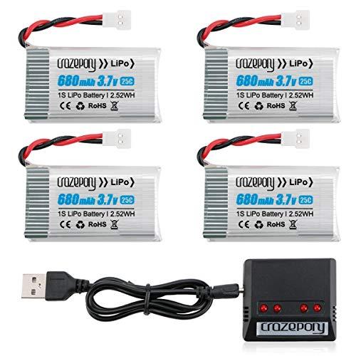 1S 3.7V Lipo 680mAh Drone Batería para Syma X5 X5C X5C-1 X5SW X5SW-V3 UDI UFO 3000 SNAPTAIN S5C FQ36 MJX X708 X708W Force1 U45 U45W T5W JJRC H42 SS40 GoolRC T32 RC Quadcopter Drone + 4 EN 1 Cargador