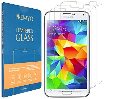 PREMYO 3 Piezas Cristal Templado Protector de Pantalla Compatible con Samsung Galaxy S5 - Sin Burbujas Arañazos 9H