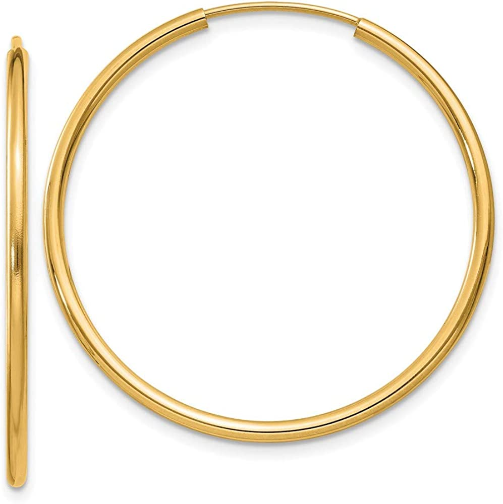 14k Yellow Gold 1.5mm Round Endless Hoop Earrings Ear Hoops Set Fine Jewelry For Women Gifts For Her
