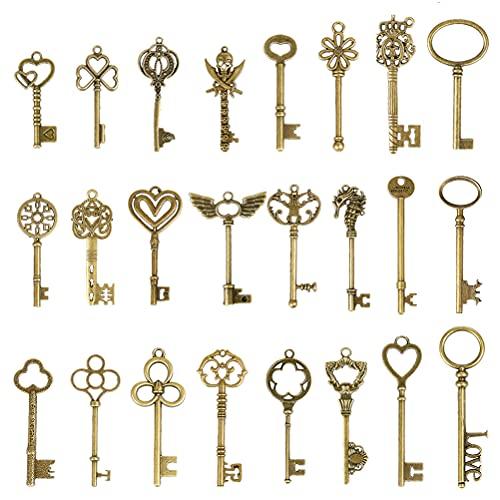 TIMESETL 24Stück Vintage Bronze Skelettschlüssel, Antike Skeleton Keys Charms DIY Kits, Deko rustikalen Schlüsselanhänger für Handgemachte Accessoires Halskette Anhänger Schmuck Machen