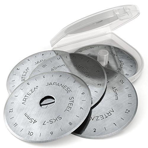 Arteza Rollschneider Ersatzklingen 45 mm, 12 Rollklingen für Rollmesser, Rotary Cutter Klingen aus hochwertigem SKS-7 Wolfram-Stahl zum Nähen und Quilten & für DIY-Projekte