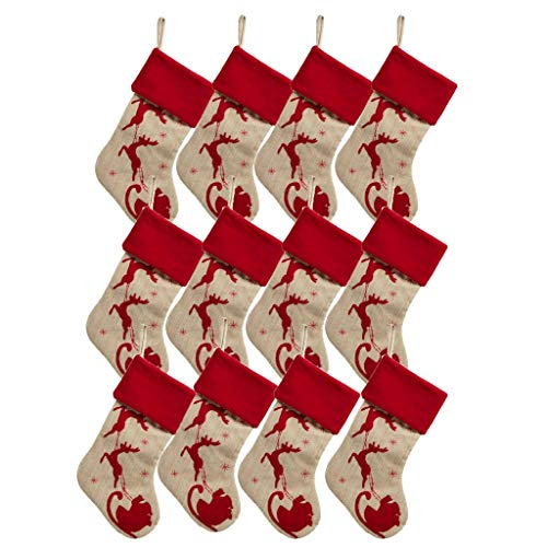 ZAZA Christmas Stockings Cheap Burlap Rustic Christmas Stocking Set of 3/4/6/8/12 Large,Elk Silhouette Embroidered Linen Xmas Ornament Decorations 18.9