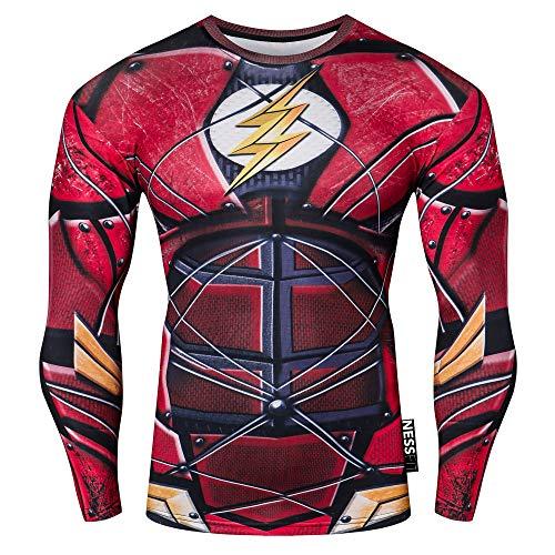Nessfit męska kompresyjna koszulka z długim rękawem top fitness warstwa bazowa termiczna siłownia bluza bieganie superbohater podkoszulka Flash Pro S