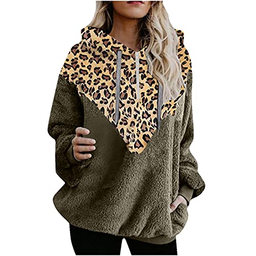 Womens Hoodies Fuzzy Fleece Pullover Tops Casual Leopard Print Long Sleeve Hooded Sweatshirt Blouse with Pocket Army Green