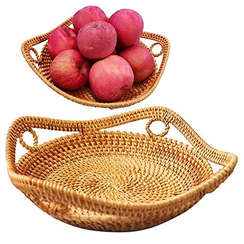 Wicker Bread Baskets For Fruit Vegetable Bowl Food Storage Organizing Kitchen Counter Desk Countertop Boho Style Natural Rattan Basket Serving Bowl 28CM
