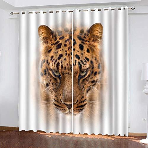 DRFQSK Cortinas Opacas para Ventanas Salon Dormitorio Infantil 3D Leopardo Animal Pintado Patrón Cortinas Aislantes Termicas Frio Y Calor con Ojales 70 X 160 Cm(An X Al) 2 Piezas Reduccion Ruido