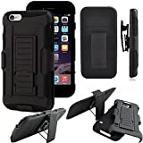 SZEE Portable Silica Gel Holster case for Apple iPhone 8(2017)/iPhone 7(2016)/iPhone 6s ; Hybrid Dual Layer Combo Armor Defender Protective Case with Kickstand + Belt Clip Holster [Black]