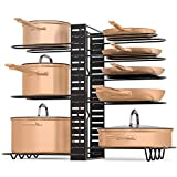 Pot & Pan Organizer by LMK 3 DIY Method Adjustable 8 Rack System for Pantry Cabinet & Countertop Black Heavy Duty Shelves (2020 Upgrade)