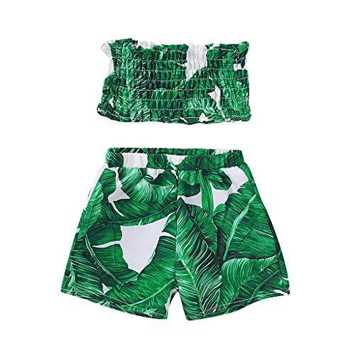 Moneycom❤Toddler bébé Filles sans Manches Feuille Imprimer Crop Tops + Shorts Outfits Set Vert(18-24 Mois)