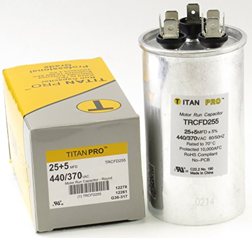 Titan TRCFD255 Dual Rated Motor Run Capacitor Round MFD 25/5 Volts 440/370