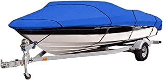 420D Heavy Duty Waterproof Runabout Boat Cover, All Weather Outdoor Protection Fits V-Hull,Tri-Hull,Trailerable Speedboat ...