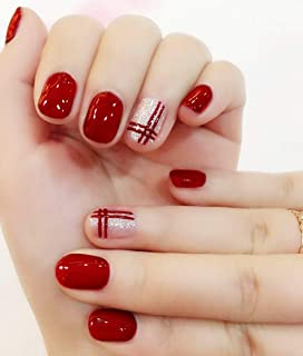 Skyvan 24 PCS Set Press On Short False Nails Full Cover Hot Silver Cross Red Fake Nails Tips with Design Including Glue and Adhesive Tab for Women and Girls