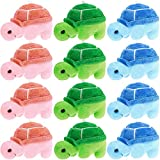 12 Pieces Mini Turtle Stuffed Toy Soft Turtle Animal Plush Toys Turtle Cute Stuffed Animal for Adults Birthday Party Decorations, Green Pink Blue, 2.76 x 3.74 Inch