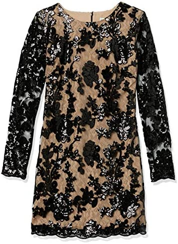 Dress the Population Women s Grace Long Sleeve Sequin Lace Mini Dress Black Nude XS product image