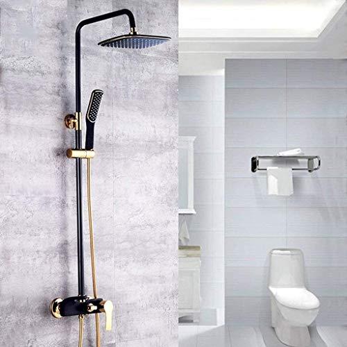 BESTPRVA Europea Negro Lluvia Dorada Pintado bañados en Oro de múltiples Funciones de la Ducha termostática de Ducha Conjunto, fijos