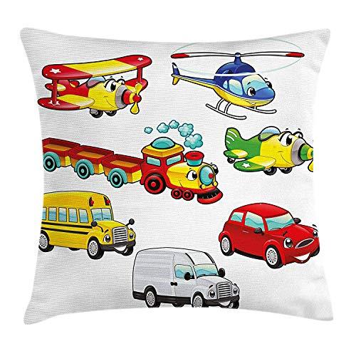 Usicapwear jongens kamer gooien kussen kussensloop, speelgoed stijl voertuigen auto trein vliegtuig fiets bus vrachtwagen karikatuur kinderen concept, decoratieve vierkante Accent kussensloop, Multi kleuren 16x16 inch