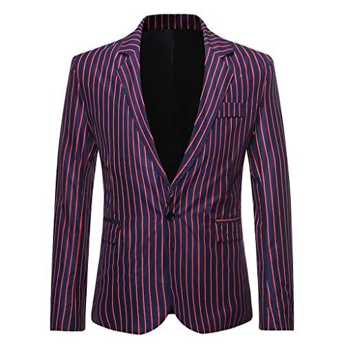 ღJiaMeng Geschäft und Hochzeitsfest Streifen Anzug Mantel Herren Stehkragen Slim Fit Jacke Button Turndown Kragen Tops Sakkos