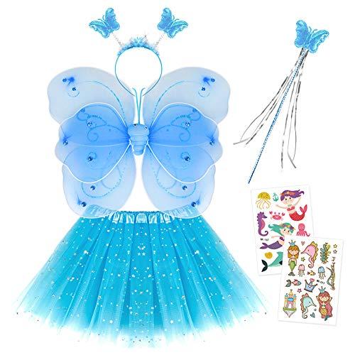 Smart Nice Fee Kostüm Kinder,Tutu und Flügel Set,Schmetterlingsflügel Fee Prinzessin Kostüm Tüllrock Zauberstab und Haarreif mit Meerjungfrau Prinzessin Sticker Tattoos für Mädchen Party (Blau)