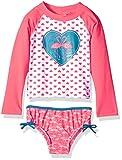 KIKO & MAX Girls' Little Suit Set with Long Sleeve Rashguard Swim Shirt, Coral Flamingo, 5