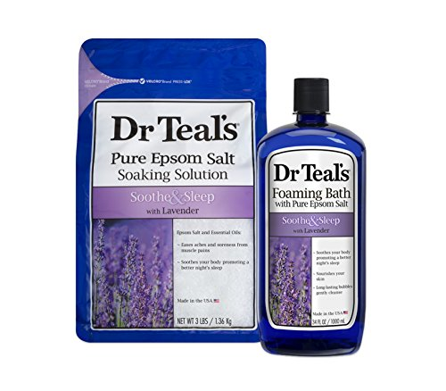 Dr Teal's Epsom Salt Soaking Solution and Foaming Bath with Pure Epsom Salt, Lavender