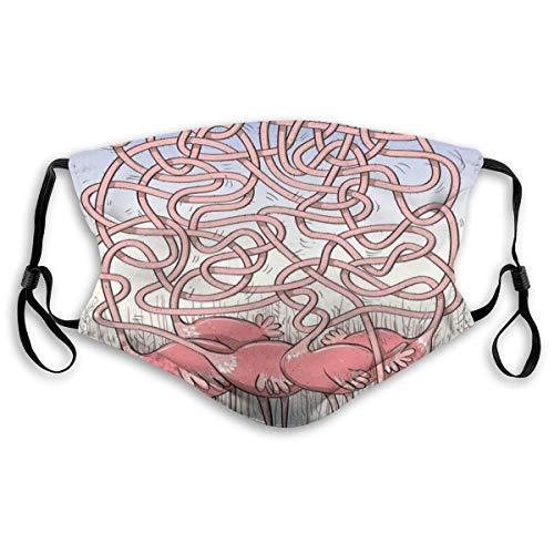Face Cover,Vijf Leuke Flamingos doolhof spel vrolijke dier Cartoon Reed Bed water, Mond Cover Vervangbaar Wasbaar Anti-stof Face Cover-Verstelbaar, Kids grootte: S