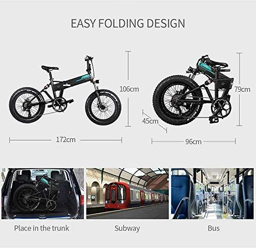 "51vAn55 88L - YDBET Elektro-Mountainbike, Folding E-Bike 250W Motor 12.5Ah Lithium-Batterie 3 Modus LCD-Display & 20"" Räder Herren Berg E-Bike, Schwarz"