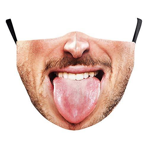 eBoutik Gesichtsmasken mit Filterschlitz - Männlicher Mann Lustiges Gesicht Design - Wiederverwendbare Atmungsaktiv Waschbar bei 60 Grad Gesichtsbedeckungen (Heraustreten...