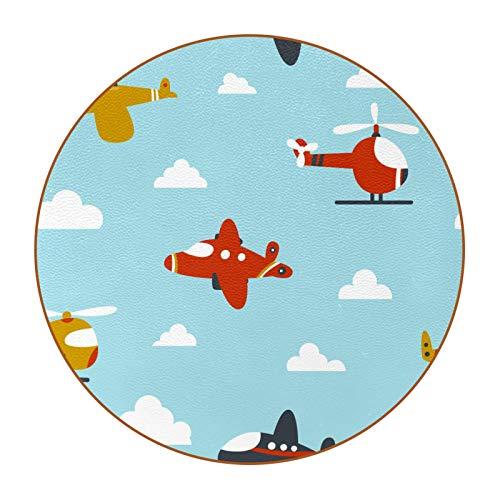 Posavasos de bebida para protección de mesa, juego de 6 para mesa de té familiar, mesa de café, decoración moderna de dibujos animados helicópteros avión patrón