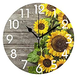 Naanle 3D Stylish Beautiful Autumn Sunflower Vintage Wooden Print Round Wall Clock, 9.5 Inch Battery Operated Quartz Analog Quiet Desk Clock for Home,Office,School