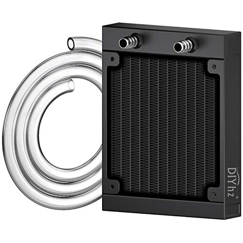 DIYhz Water Cooling Computer Radiator, 12 Pipe Aluminum Heat Exchanger Liquid Cooling Radiator Heat Sink 120mm for CPU PC Laser Water Cool System DC12V Black