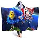 Ficldxc Super Mario - Manta interior con capucha para niños, diseño de Super Mario Galaxy para adultos y niños, tamaño 222 x 152 cm