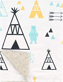 Soft Minky Baby Blanket, with Double Layer Dotted Backing, Plush Receiving Baby Blanket for Baby boy, Baby Girl, Newborns, Bedding (Tent, 30x40 Inch)