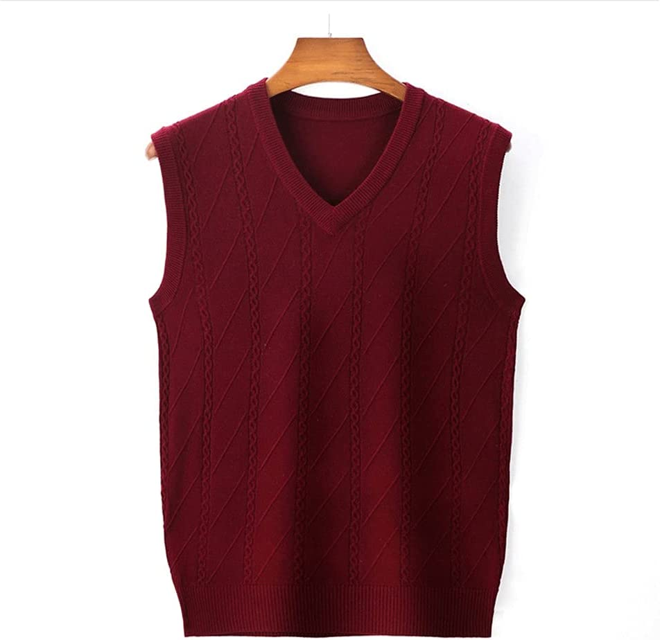 ZSQAW Men Leisure Sleeveless Sweater Vest Fashion Casual Solid Computer Knitted Men's Warm Sweater Vest (Color : Red, Size : XXL Code)