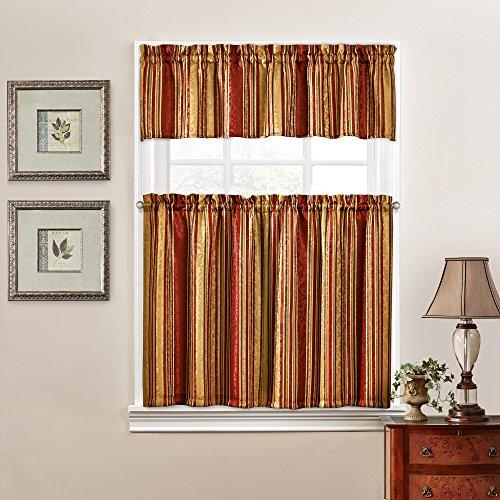 "WAVERLYTraditions Kitchen Curtains Set for Windows - Stripe Ensemble 52"" x 36"" Short Curtain Tiers Set Small Window Valance Bathroom, Livingroom and Kitchens, Crimson"