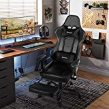 Comermax Massage Gaming Chair Racing Video Game Chair Computer Desk Office Chair Swivel Ergonomic Executive Bonded Leather Chair with Headrest Lumbar Support and Adjustable Armrests(8280-Black01)