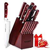 Knife Set, <span class='highlight'><span class='highlight'>homgeek</span></span> 15-Piece Kitchen Knife Set with Block Wooden, Self Sharpening Manual for Chef Knife Set, German 1.4116 Stainless Steel Knives(Reddish Brown)