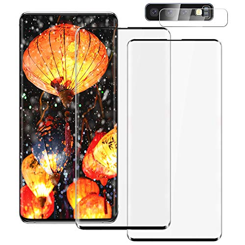 [2+1] Galaxy S10 Tempered Glass Screen Protector Include Camera Lens Protector [Fingerprint Support][Case Friendly] [Anti-scratch] [Bubble Free] HD Clear Film for Sansumg Galaxy S10