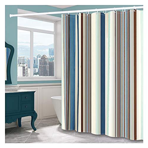 TFTREE Boho Stoff Duschvorhang, wasserdichter dekorativer Duschvorhang für das Badezimmer Schnelltrocknender Stoffvorhang mit Haken Schwere Gewichts- / Farbstreifen-cyan-180 * 200cm