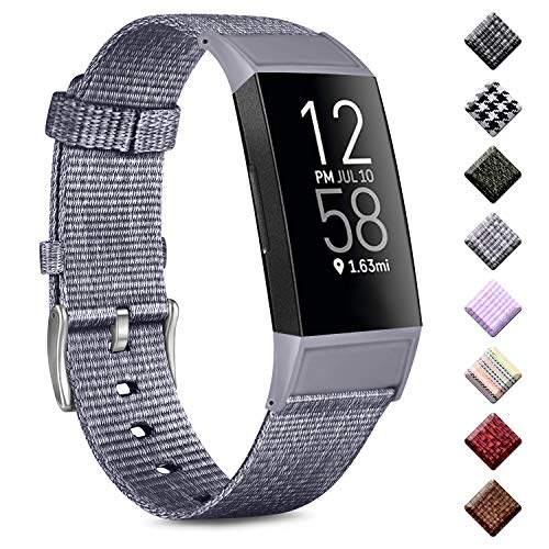 Wanme - Correa para Fitbit Charge 4 / Fitbit Charge 3, tejido transpirable con hebilla clásica para Fitbit Charge 3/Charge 4, color gris