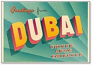 Vintage Touristic Greeting Illustration - Dubai, United Arab Emirates Fridge Magnet