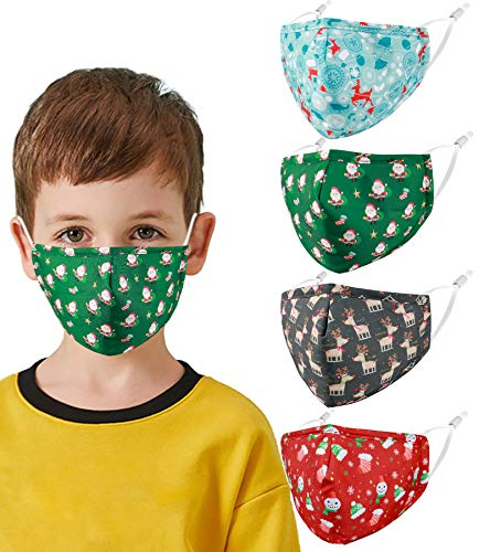Reusable Kids Cloth Face Masks Santa Christmas Funny Designer Breathable Cute Washable Adjustable Cotton Fabric Childrens Toddler Teen Youth 4 Pack mascaras para niños, Gift for Boys Girls Color6