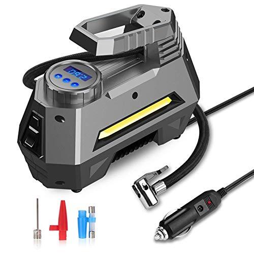 QWERTOUY draagbare luchtcompressor-rubberen banden, autobandpomp met digitale manometer, 150 psi 12 V DC), licht noodgeval, zaklamp