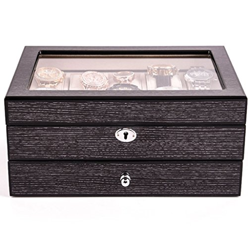 Power uk- Européenne Boîte à Bijoux Piano Peinture Solide Bois Montre Boîte 10 Packs Montre Mécanique Collection Boîte en Bois Montre Boîte De Rangement De Bijoux (Couleur : Noir)