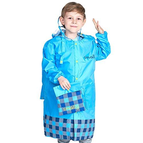 Enfants imperméable manteau avec sac d'école position, imperméable veste à capuche pluie poncho portatifs vêtements de pluie, Bleu S/4-6 Ans