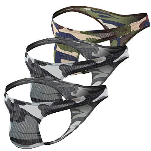 QIMANZI 3PC Jockstrap HerrenUnterwäsche String Sport Slips Transparent Durchschauen Kurze Hose Heiße Lippe Drucken Unterhose Retroshorts(H,M)