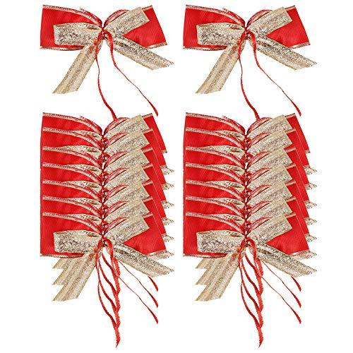 COM-FOUR® 16x grote geschenkboog voor decoratie en verpakking - afgewerkte boog in rood en goud - afmeting: 12 x 7 cm (16 stuks - rood)