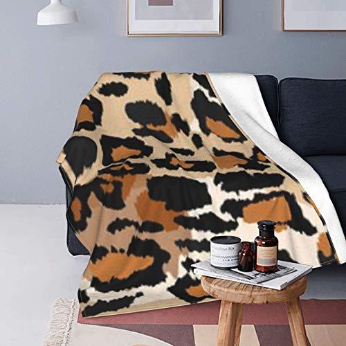 DUTRIX Manta de forro polar ultrasuave de 150 x 125 cm, diseño de leopardo