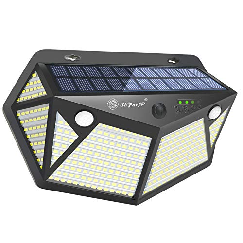 SiFarJP 360LED センサーライト 屋外 2つセンサー 指示ランプ 6面発光 ソーラー ソーラーライト 人感センサーライト 4つ知能モード 人感センサー ガーデンライト ライト 防犯 IP65 防水 玄関/駐車場/庭先 1個セット