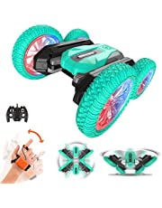Glowee RC Stunt Car, High Speed Fun, 2.4 GHz Air Gesture Remote Control Toy Car, Cool LED Lights & Music, 360° Rotate & 180° Flip, Kids Toy Battery Car for Boys & Girls (Green)